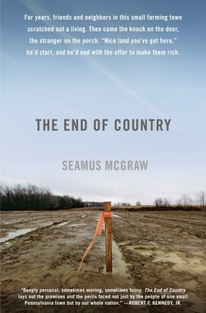 Picture of 'The End of Country' book. 1 lone post with an orange band in a muddy fie;d
