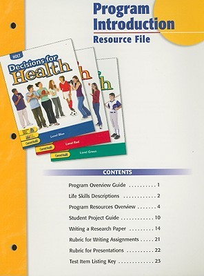 Holt Decisions for Health Program Introduction Resource File