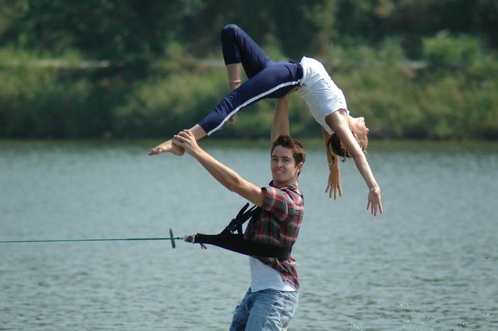 My son and his water skiing adagio partner Sam.