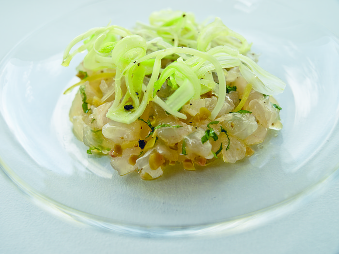 A shot of one of Eric's favorite recipes, snapper tartare.