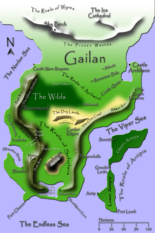 This is a map of Gailan that I created which is included in the paperback and electronic versions of the book.