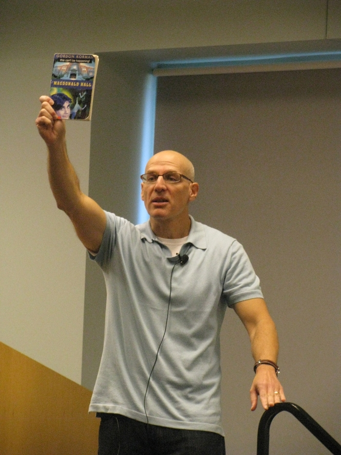 Award winning author, Gordon Korman, spoke of his love of writing with area middle and high school students-October 6, 2010