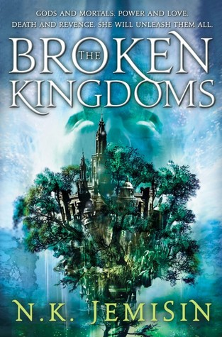 Title: The Broken Kingdoms, book two of the Inheritance trilogy. Author: N. K. Jemisin. There's a huge three with a castle and a city hidden between its brances. There's also a skull being held up in the background.