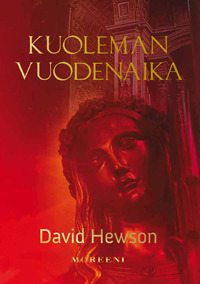 A female face of a statue viewed through read. Title: Kuoleman vuodenaika (A Season for the Dead). Author: David Hewson