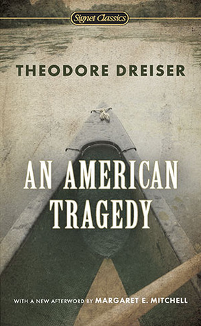 Author: Theodore Dreiser. Title: An American Tragedy. A bow of a boat pointing upwards and ahead on a lake.