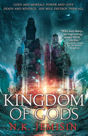 Title: The Kingdom of Gods, book three of the Inheritance trilogy. Author: N. K. Jemisin. A city floats on the parted sea. A face with one eye visible looks from the background.