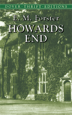 A close picture of a house covered in vines. Big trees outside the picture cast their shadow on the house. A few windows and a door are visible. Author: E. M. Forster. Title: Howards End.