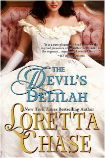There's a white woman with dark hair dressed in a white, voluminous dress sitting on or leaning against a settee. She's wearing elbow-high gloves. Her face from chin up is cut from the picture. The cover reads: The Devil's Delilah, New York Times Best Selling Author, Loretta Chase.