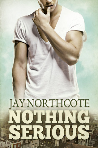 A white man in a white v-neck t-shirt is touching his lips with his left thumb. He stands against a sky blue background. His face is cut off and his hips fade into a urban scenery photographed from above. Author: Jay Northcote. Title: Nothing Serious