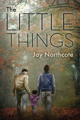 An autumn view. There are orange leaves on the trees and on the ground. Two men are walking away from the viewer. They both are holding hands of a small child that walks between them. Title: The Little Things. Author: Jay Northcote.